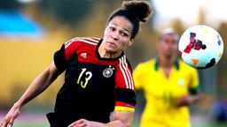 Die deutsche Fußball-Nationalspielerin Celia Sasic  © picture-alliance/LUSA Fotograf: Jose Sena Goulao