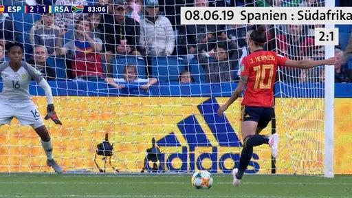 Eine spanische Spielerin schießt einen Elfmeter beim Spiel gegen Südafrika am 08.06.2019.